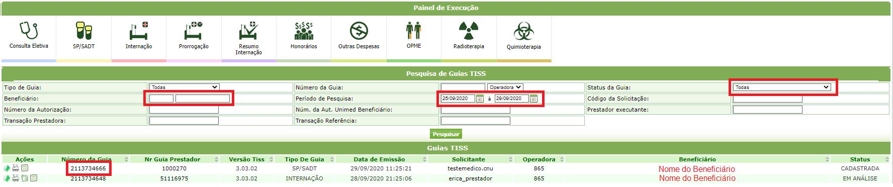 Consulta Pedido Médico  - Exames Prestador